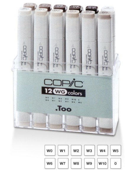 Copic markers warm Grey 12 kleuren Set