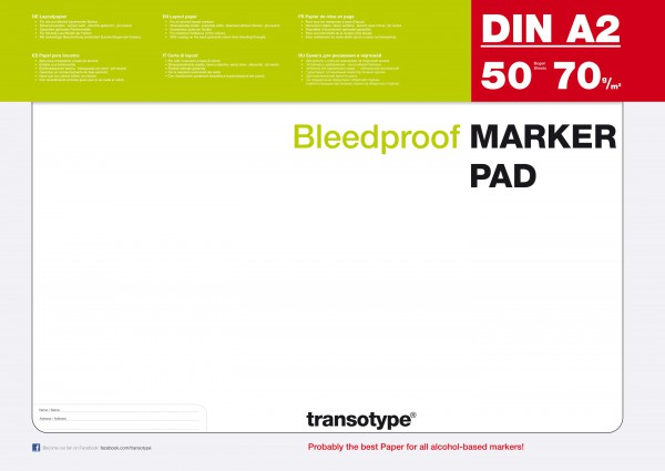 A2 Papier Copic marker blok 70G 50 vel (transotype)
