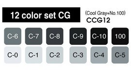 Copic markers Cool Grey 12 kleuren Set