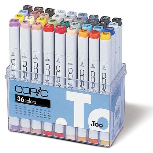Copic markers, assortiment 36 kleuren Set